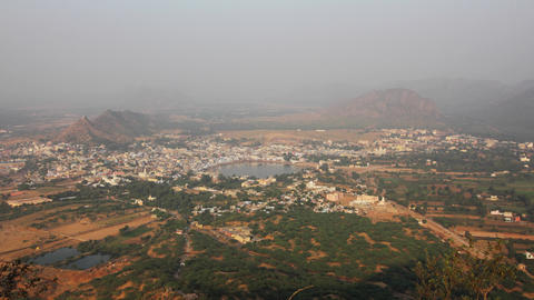 View from mountain on holy lake in Pushkar Footage