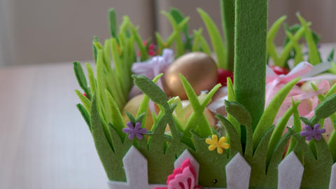 Easter eggs folded in a basket Live Action