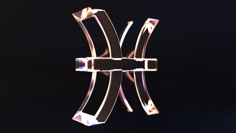 Rotating glass Pisces Zodiac sign, loopable 3D animation Footage
