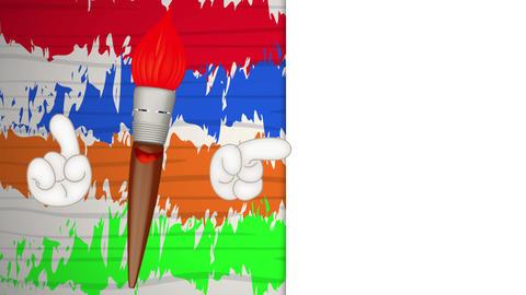 Funny paint brush cartoon illustration painting art artist, Stock Animation