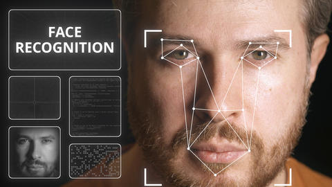 Computer system scanning man's face. Face recognition related clip GIF