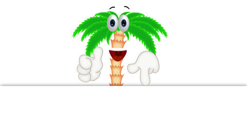 Funny palm cartoon beach with hands and eyes Footage