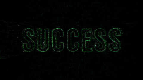 "3D animation data digital code with ""Success"" text Footage"