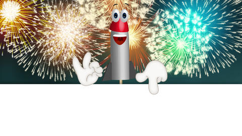 Funny Cartoon Rocket Fireworks Comic Hands Animation