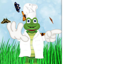 funny turtle cook cooking chef hat cartoon comic illustration CG動画素材