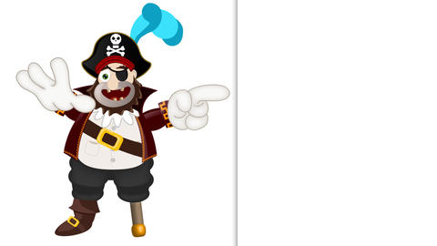 Friendly pirate funny cartoon illustration Animation