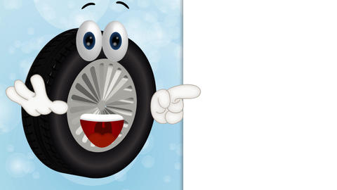 Funny tire cartoon tire service summer winter tires Stock Video Footage