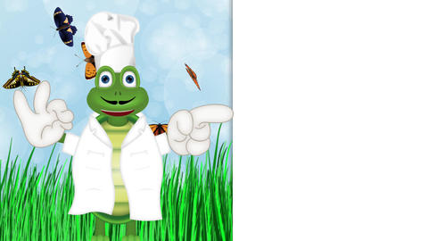 funny turtle cook cooking chef hat cartoon comic illustration Animation