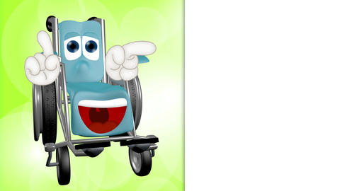 Funny wheelchair cartoon comic illustration Animation