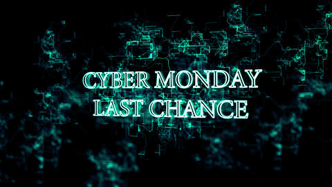 Rotating electronic grid with 'Cyber Monday - last chance' text Live Action
