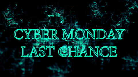 Electronic grid with 'Cyber Monday - last chance' text Stock Video Footage