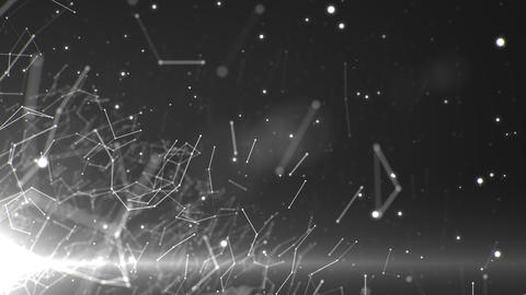 Network of lines and particles with a light in the bottom left corner Animation