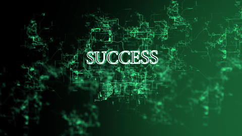 """Moving digital network with """"Success"""" text Footage"""