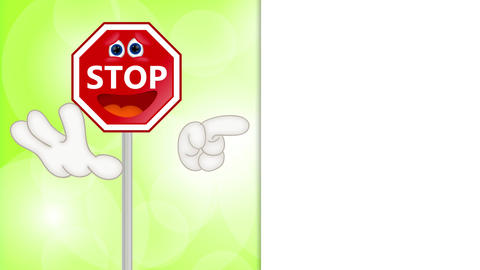 Funny stop sign traffic attention cartoon comic illustration Animation