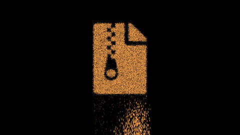 Symbol file archive appears from crumbling sand. Then crumbles down. Alpha channel Premultiplied - Animation
