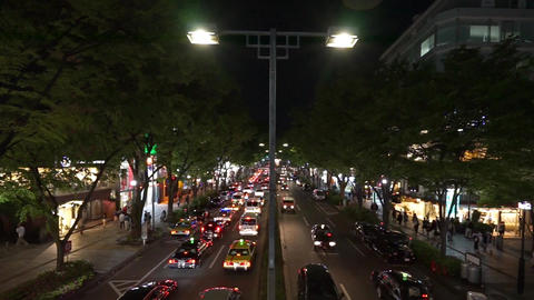Tokyo's Omotesando avenue of Japan (taken from the footbridge, Night Scene) Footage