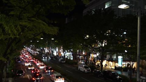 Tokyo's Omotesando avenue of Japan (taken from the footbridge, Night Scene) Footage