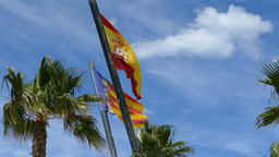 Spanish and Valencia city flag at cloudy sky Footage