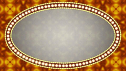 Vintage Flashing Light Neon Sign With Lamps Ellipse Frame Border Animation CG動画素材