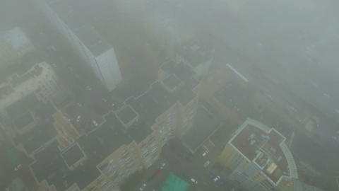 Helicopter flying through clouds over Moscow city center Footage