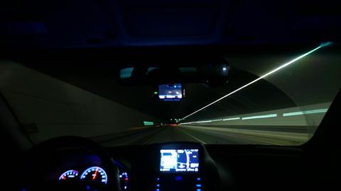 Night driving Timelapse, Inside windshield, Highway in Korea Footage