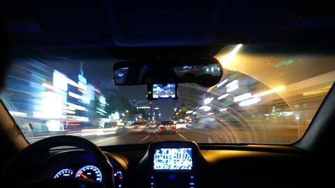 Night driving Timelapse, Inside windshield, Masan in Korea Footage