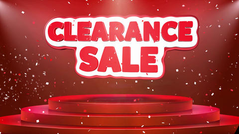 Clearance Sale Text Animation Stage Podium Confetti Loop Animation Live Action