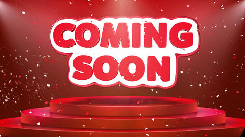 Coming Soon Text Animation Stage Podium Confetti Loop Animation Footage