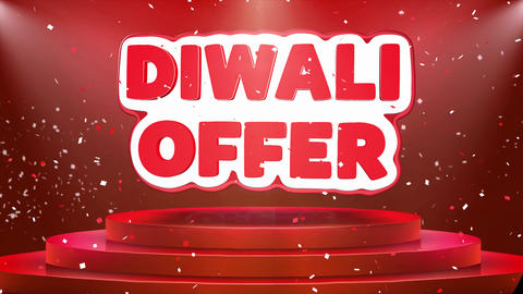 Diwali Offer Text Animation Stage Podium Confetti Loop Animation Footage