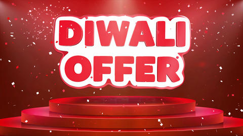 Diwali Offer Text Animation Stage Podium Confetti Loop... Stock Video Footage