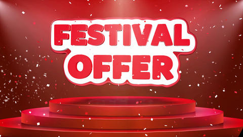 Festival Offer Text Animation Stage Podium Confetti Loop Animation Footage