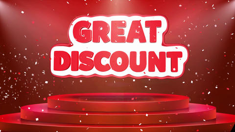 Great Discount Text Animation Stage Podium Confetti Loop Animation Footage