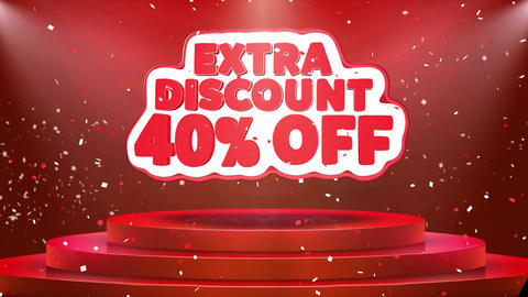 40 Off Extra Discount Text Animation Stage Podium Confetti Loop Animation Footage