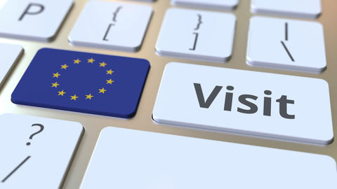 VISIT text and flag of the European Union on the buttons on the computer Footage