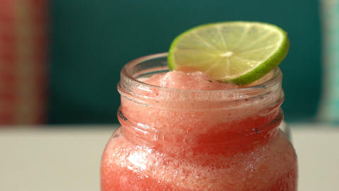 Fresh tropical organic watermelon smoothie rotate on table Footage