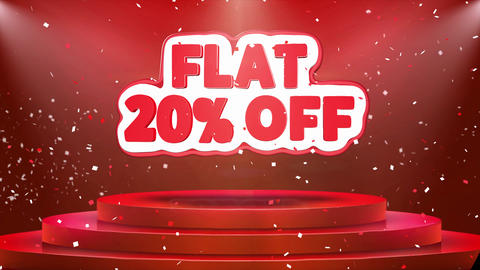 Flat 20% off Text Animation Stage Podium Confetti Loop Animation Footage