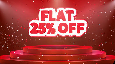 Flat 25% off Text Animation Stage Podium Confetti Loop Animation Footage