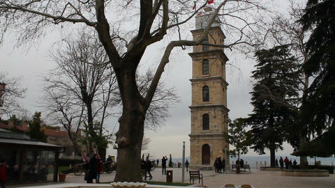 Bursa Clock Tower. Popular touristic travel destination of Bursa. Turkey Footage