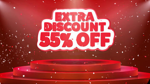 55 Off Extra Discount Text Animation Stage Podium Confetti Loop Animation Footage