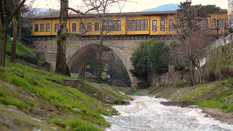 Historical and touristic Irgandi Bridge, Bursa, Turkey Footage