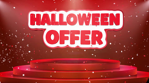 Halloween Offer Text Animation Stage Podium Confetti Loop Animation Footage