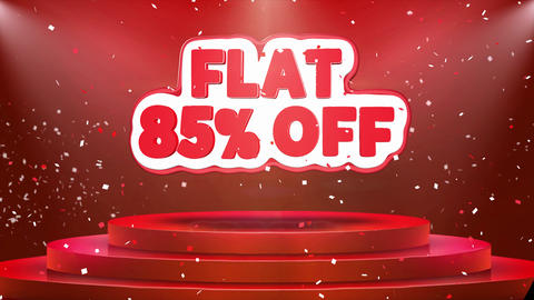 Flat 85 off Text Animation Stage Podium Confetti Loop Animation Footage