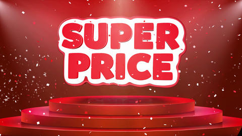 Super Price Text Animation Stage Podium Confetti Loop Animation Footage