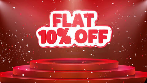 Flat 10 off Text Animation Stage Podium Confetti Loop Animation Footage