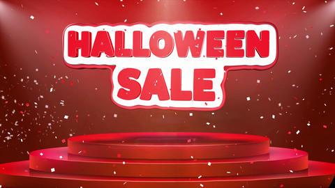 Halloween Sale Text Animation Stage Podium Confetti Loop Animation Footage