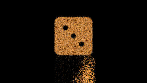 Symbol dice three appears from crumbling sand. Then crumbles down. Alpha channel Premultiplied - Animation