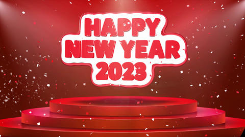 Happy New year 2023 Text Animation Stage Podium Confetti Loop Animation Footage
