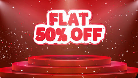 Flat 50 off Text Animation Stage Podium Confetti Loop Animation Footage