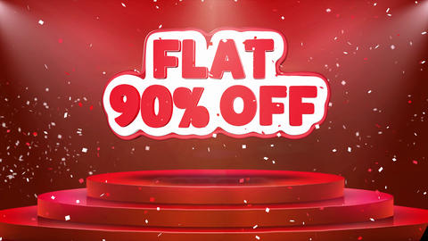 Flat 90 off Text Animation Stage Podium Confetti Loop Animation Footage