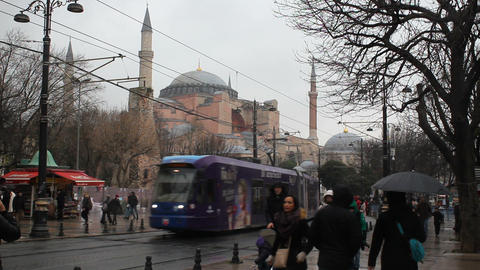 Istanbul's populer travel destination Sultanahmet Square, Hagia Sophia Church and tramway line Footage